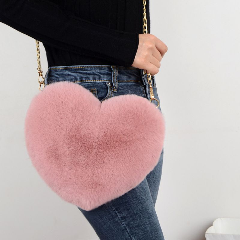Faux Fur Heart Shape Purse