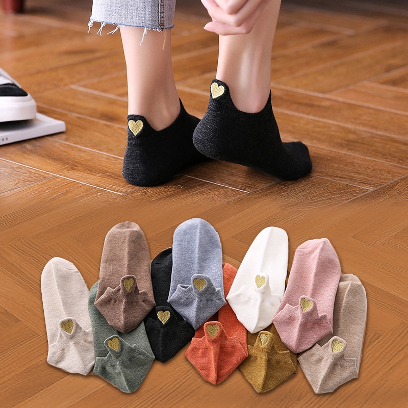 (4 pairs) Heart Ankle Socks