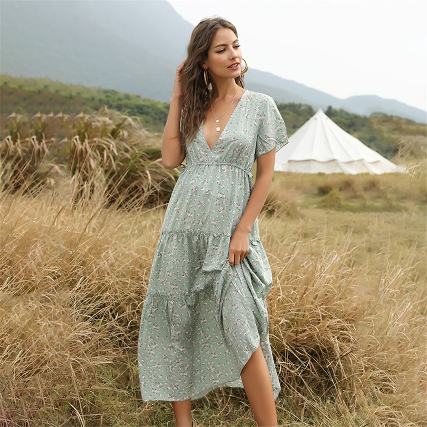 Boho Long Ruffles Dress